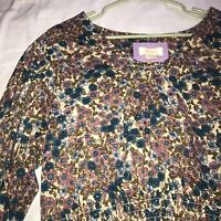 NWT Anthropologie Maeve Women's Blue/Cream Floral Long Sleeve Top Sz S $118