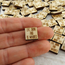 Eat Drink and Be Married Tabletop Confetti Engraved Wood Pk of 100 Wedding Decor