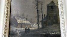 Ecole Française de la fin du XIXe siècle Paysage de neige Huile sur panneau N° 2
