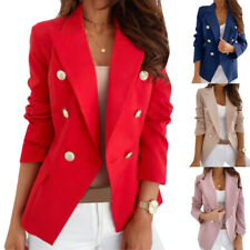 Women Blazer Slim Double Breasted Suit Work OL Jacket Ladies Long Sleeve Outwear