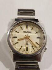 VTG 1975 Mens Watch N5 ACCUTRON Silver Tone Wristwatch Geometric Crystal