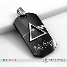 NEW Stainless Steel Pink Floyd Rock Music Band Cool Black Dog Tag Pendant 14L