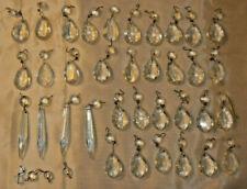 New listing Lot of 35+ Vintage set of Chandelier Lamp Hanging Prism Crystals Glass Decor