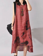 Ladies Dress Print  Asymmetrical Red Linen Sz XL(says 3XL) Sleeveless BNWT