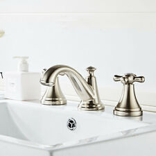 Classic Antique Brass Basin Faucet Bathroom Deck Mount 3 Holes Brushed Nickel