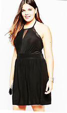 Simply Be Praslin Size 16 Black Halterneck Skater DRESS Fab Lace Trim  Party £45