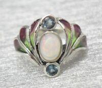 Opal Silberring  Opal & Blau Topas & Email  925er Silber Jugendstil  # 56