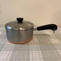Revere Ware 1 1/2 Quart Fry Pan Sauce Pan Pot W/ Lid Copper Bottom Clinton ILL