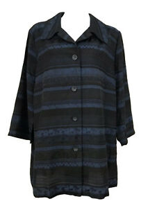 *NWT* EVE Size 20-22 Ladies Blue/Black Jacket Coat Tunic - 7/8 length Sleeves