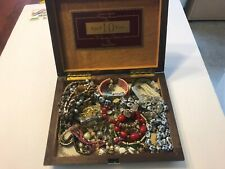 costume Jewelry lot in a vintage cigar box