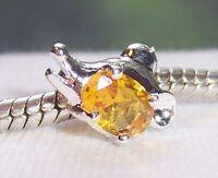 Rhinestone November Birthstone Animal Ring Bead Gift for European Charm Bracelet