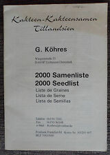 2000 Samenliste !! kakteen book cactus SEEDS CATALOGUE catalogo vivaio piante