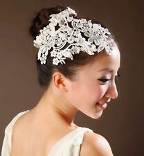 CRYSTAL LACE BRIDAL WEDDING RHINESTONE PEARL RING APPLIQUE HAIR HEAD TIARA RING