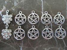 Silver Lot of 10-Pentacles Green Man Charms-Crafts-Jewelry Making-Goddess Celtic