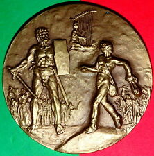 NUDE GIANT GOLIATH /  DAVID / BIBLE / BRONZE MEDAL BY VISEU