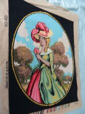 """Large Completed Tapestry - Georgian Lady 'Elvico'  in costume 19"""" x 23 """" Lovely"""