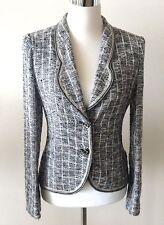 VINTAGE Emanuel Ungaro Parallele Black & White Lightweight Knit Fitted Jacket 6