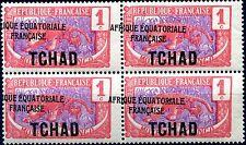 """COLONIES TCHAD N° 19 NEUF** Variété """"A.E.F. À CHEVAL EN BLOC DE 4"""" SIGNÉS"""