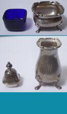 English sterling silver SALT & PEPPER by CARTIER (SHAKER & CELLAR cobalt liner)