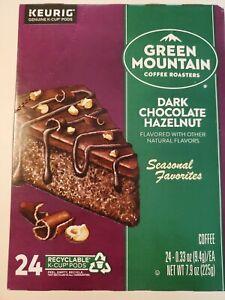 24 GM DARK CHOCOLATE HAZELNUT Flavored Coffee K cups Keurig No Sugar/Sweetener