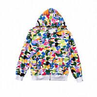 Men's A Bathing Ape Bape Plush Casual Hooded Jacket Coat Candy Camo Sweater Top