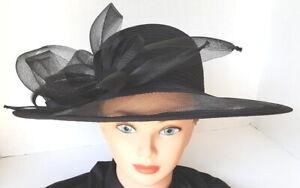 Black GIOVANNIO Black Straw Hat~Church/Derby~Wide Brim~Excellent Condition!!