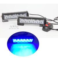 2x6LED Blue Car Emergency Beacon Grille LED Light Bar Hazard Strobe Warning 12V