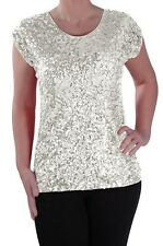 Womens Casual Sequin Scoop Neck Cap Sleeve Hip Length Blouse Ladies Tunic Top