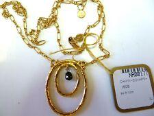 "Gurhan 24k Y.Gold Double Oval Hoop Necklace with Black Diamond Briolette 16""-18"""