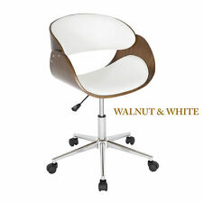 Curved Padded Levv Walnut & White Computer Office Chair Desk PC Quality Chairs