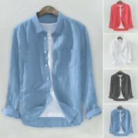 Men Solid Cotton Linen Blend Shirt Long Sleeve Chest Pocket Button Casual Blouse