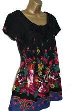 Yumi Sexy Knitted Jumper Dress 12 10 Knit Floral Black Tunic Short Sleeve Mini