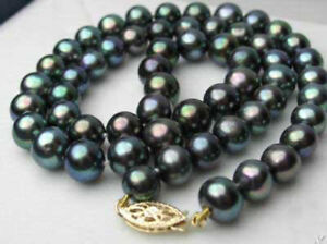 Beautiful! 7-8mm Natural Black Akoay Cultured Pearl Necklace 18'' AAA+