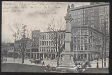 POSTCARD BINGHAMTON, NEW YORK NY Civil War Statue Monument & Business Stores '06