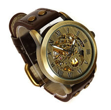 Cool 42mm BRONZE AUTOMATIC Skeleton Military Vintage Style Wrist Watch Brass