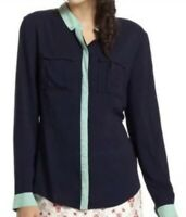 Anthropologie Anthro Maeve Bagatelle Navy Long Sleeve Button Down Shirt Size 12