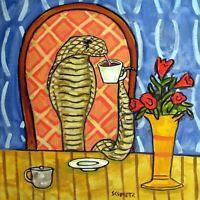 ALLIGATOR dj 8.5x11  art PRINT animals impressionism glossy gift new