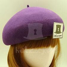 FASHION Wool Felt Women Soft Beret Hat Ladies Pillbox ROYAL NEW | 56cm | Purple