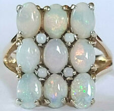 "Large Vintage 14k Yellow Gold Size 7.25 RIng Opal Cluster Estate 3/4"" Long 5.1g"