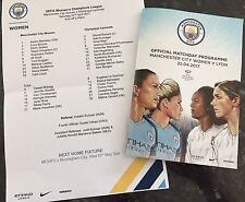 MANCHESTER CITY WOMEN V LYON 22.04.17 CHAMPIONS LEAGUE SEMI FINAL + TEAMSHEET