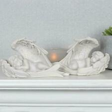 More details for large pair of cherub in wings baby angel ornaments figurine statue memorial gift
