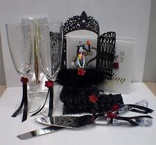 Nightmare before Christmas Wedding Cake topper Lot Glasses Knife Server Book RED