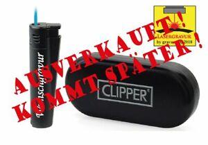 CLIPPER Feuerzeug mit Wunschgravur Original Jet Flame Black Limited Edit. Neu