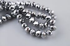 Bulk 100Ps Silver Plated Crystal Glass Faceted Rondelle Bead 3mm Spacer Findings