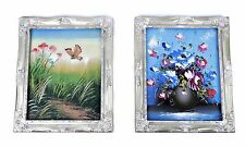 """Original Still Life Oil Paintings on Board with Silver Frames 9"""" x 11"""""""