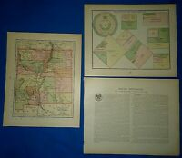 Vintage 1894 MAP of NEW MEXICO TERRITORY & STATISTICS CHART as of 1894
