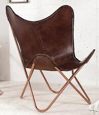 Butterfly Sessel Stuhl TEXAS Echtleder braun Loungesessel Esszimmer Designchair