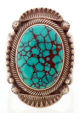 Navajo Handmade Sterling Silver with Turquoise Ring Size 7.5 by Stanley Parker
