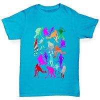Twisted Envy Boy's Field Hockey Rainbow Silhouettes Printed Cotton T-Shirt