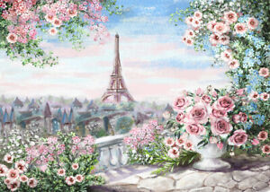 300 Pcs Puzzle Watercolor Flowers Eiffel Tower Jigsaw Adult Kid Educational Toy